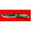 """Нож """"Грибник-2"""", ручная ковка, клинок сталь 9ХС, рукоять стабилизированный кап (зеленый), мельхиор"""