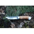 "Нож ""Бурундук"", клинок сталь 95Х18 со следами ковки, рукоять береста, металл"